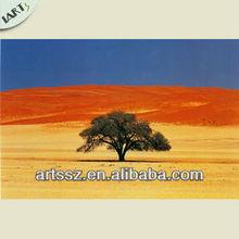 Handmade African tree in the desert landscape oil painting