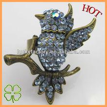 Antiq bronze design crystal charm atique bird rings