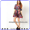 ODM&OEM manufactue women fashion design floral printed dress smock dress birthdays party dress shk 2094