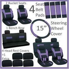 Universal Fitting 16pc Set Purple Car Seat Covers Steering Wheel Belt Pad Air Freshener