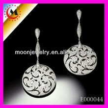 RHODIUM PLATED WITH MICRON PAVED WORKMANSHIP 100% EARRING SILVER IN 925