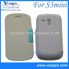 White Color Cell Phone Leather Flip Cover Case for SAMSUNG S3 Mini(VQCASE082203)