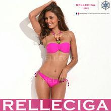 Wholesale! RELLECIGA Jungle Jewel Fashion Bandeau Bikini Swimwear - Classic Solid Rose Red with 1/2 Mild Push-up Cup
