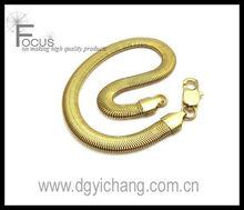 Polished Stainless Steel Snake Bracelet, Color Gold