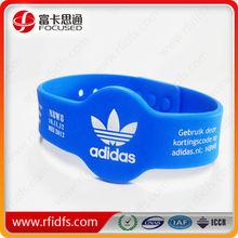 hf 13.56mhz mifare s50 rfid silicone wristband