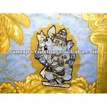 "Indian Elephant Face God Lord Ganesh Ganesha Cotton Fabric Tapestry Batik Painting Wall Hanging 30"" X 20"""