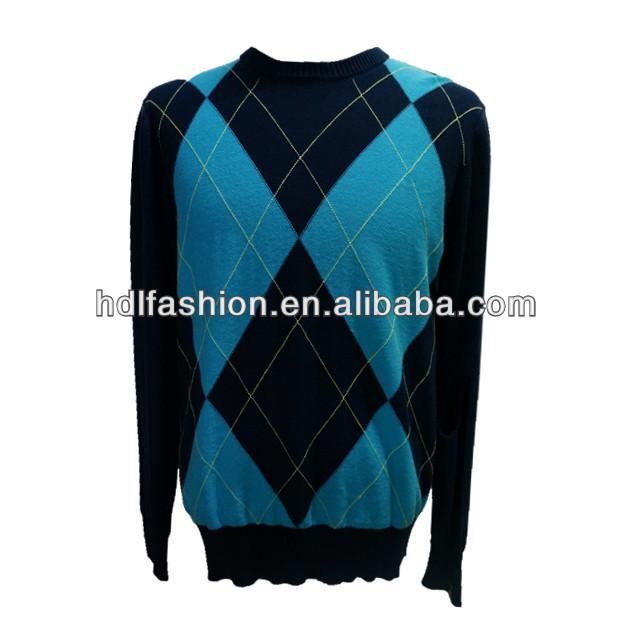 de lana de punto jersey ropa con el patrón de rombos diseñado para el hombre