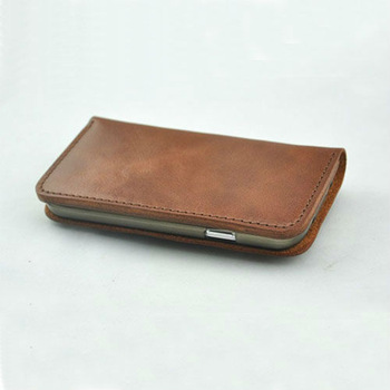 Cell phone case for samsung galaxy 3 Leather Wallet Book Case, Hand-Stitched Leather Phone Purse