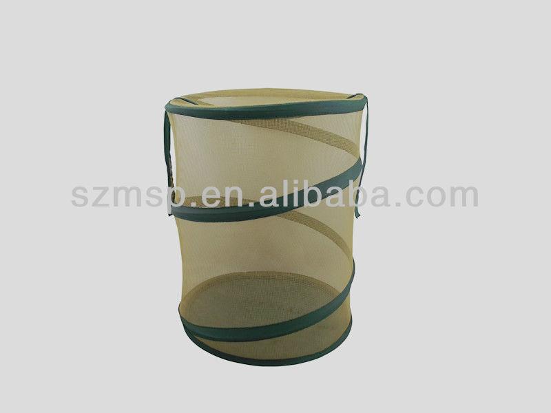 Cylinder Nylon Mesh Foldable Laundry Basket/ Laundry Bag