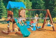Hot-selling kid plastic slide and swing set TY-12209