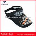 Negro casquillo del visera de sol con patrón personalizado Logo caliente venta