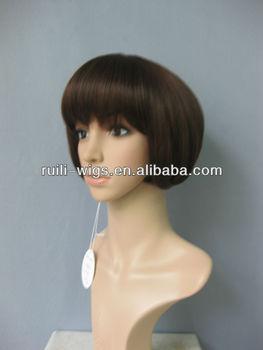Funny dark brown synthetic short wig