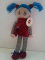 de pelo azul de peluche muñeca de tela