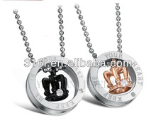 Fashion New design stainless steel Crown style flash diamond necklace/jewelry for lovers'necklace QL-013
