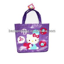 Purple non woven fabric shopping bag