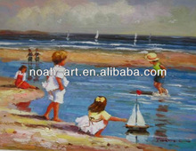 Impressional artwork children playing oil painting