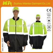 EN471 Fluorescent yellow winter men waterproof jacket