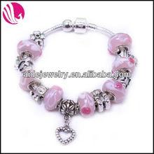Pink Glass Bead Bracelets with Snake Chain Murano charms Bracelets Jewelry