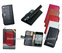 Credit Card Slot Wallet Genuine Leather Case For iPhone 4/4s