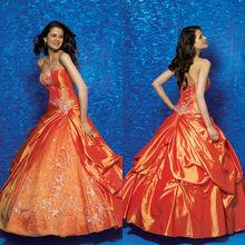 Glitter Sweetheart Neckline Appliqued Ball Gown Taffeta Orange Quinceanera Dresses