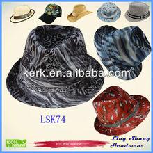 LSF74 Ningbo Bulk Price Black Fashion Unisex Fabric Fedora Party cheap fedora hat
