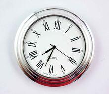 Quartz Insert Fit Up Clock, Brass Bezel, Roman White Face hole