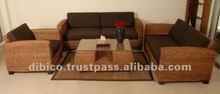 2012 natural rattan , water hyacinth, wood sofa set 4pcs for living room/ indoor rattan sofa set 4pcs for living room