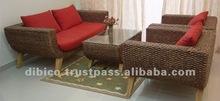 Luxury living room furniture sofa set 4pcs/ wood rattan wicker water hyacinth sofa set design 2012.