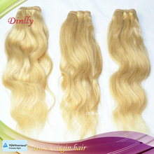 High Quality No Shedding Russian human hair extensions/weave/weft 613 blonde