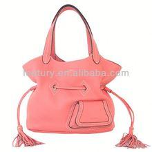 hot selling tassel lady genuine leather handbag,lady handbag