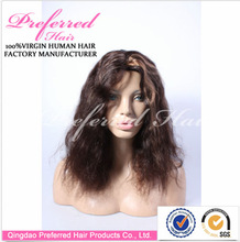 Stock natural color natural curl peruvian human hair full lace wigs manufacturer made in china for black women