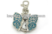 Fashionable clock metal key chain in butterfly shaped