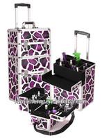 Pro 360 Degree Rolling Cosmetic Trolley Cases Giraffe Print Exterior Finish w/ 4 Wheels, RZ-AJC136