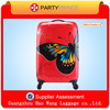 Promotion Butterfly Printing Red Lightweight PC ABS Trolley Luggage Factory In Guangdong China