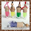 2014 hanging glass car perfume air freshener with wooden cap in different scents
