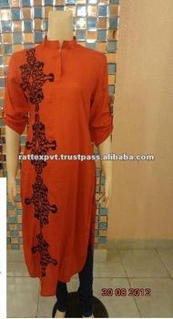 New Fashion Design Of Pakistani Lady Kurtis with Fancy embroidery work 2014