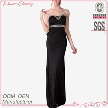 newest fashion night dress 2014 with beaded neckline for woman