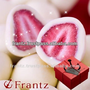 Freeze Dried Strawberries with White Chocolate Truffle