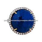 14K Yellow Gold Gemstone Fashion Ring Jewelry,Lapis Stone Fashion Ring,.925 Sterling Silver Diamond Fashion Ring Jewelry