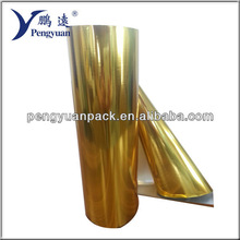 colored metallized pet film gold color laminated with paper for packaging application