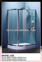 5/6/8mm Tempered Glass Zinc Alloy Wheel And Handle Cultellate Shower Enclosure