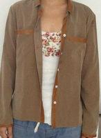 Chiffon shirts blouse women PU leather contrast fashion shirt blouse 2014