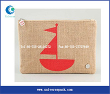 Zipper fancy jute pencil bags with client's logo