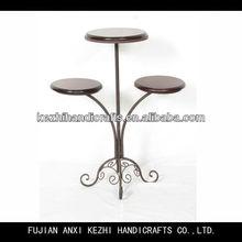 metal wood 3 tier flower pot stand