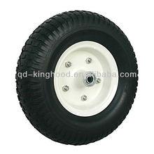 Flat Free Wheelbarrow tire With Steel White Hub, Black PU Foam Tire