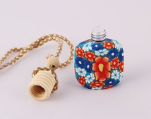 perfume glass bottle with polymer clay,hanging car air freshener