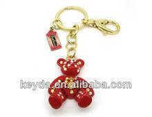 3D red Bear with diamond metal keychain