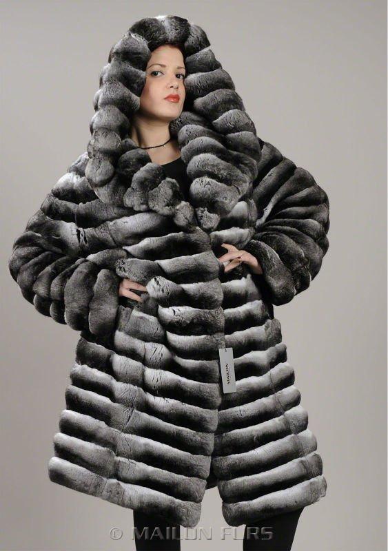 Com capuz imperatriz casaco de pele de chinchila