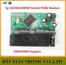mini deisgn OEM 5 Port 10/100/1000M full duplex fast lan Ethernet rack mount outdoor Network router Switch Lay2 PCBA Module
