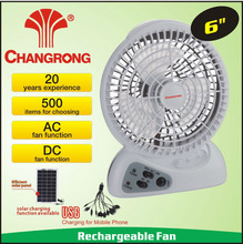 hand held 6inch rechargeable battery mini fan with usb light battery